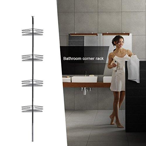 Lsooyys - Estante telescópico para ducha de 4 niveles, resistente al óxido, para baño y ducha, de metal, 3 kg cada funda