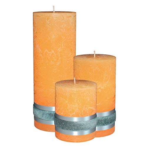 Badidi  Yellow Rustic Candles  Large Pillar Set of 3  Home Restaurant Spa Decoration  Table Display  Gift Set  Unscented  Hand Made  Solid Colour  Different Sizes  Long Burn Time