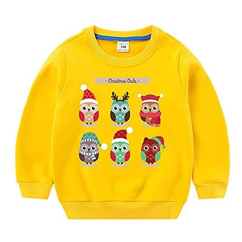 Charous Weihnachtspullover, Sweatshirt für Kinder, niedlich, lustig, Weihnachtsmannkostüm, Eulenkostüm Gr. 9 Jahre, gelb