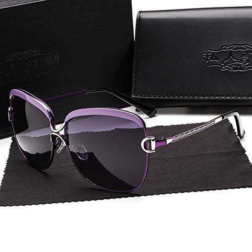 APCHY Gafas De Sol Mujer Decoración De Metal De Moda Polarizada Ultraligera Protección UV400 Conducir Viajar Gafas De Luz Azul,Púrpura