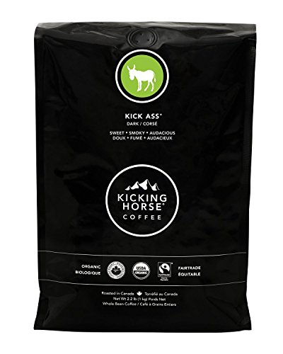 Kicking Horse Coffee, Kick Ass, Dark Roast, Whole Bean, 2.2 Pound - Certified Organic, Fairtrade, Kosher Coffee