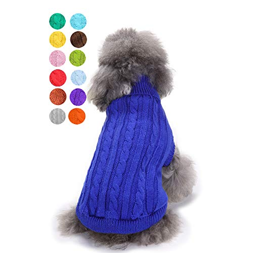 Small Dog Sweater, Warm Pet Sweater, Cute Knitted Classic Dog Sweaters for Small Dogs Girls Boys, Cat Sweater Dog Sweatshirt Clothes Coat Apparel for Small Dog Puppy Kitten Cat (Medium, Dark Blue)