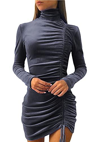 CHOSERL Las mujeres de moda acanalada elegante bodycon manga larga abrigo frontal terciopelo casual ajustado vestidos cortos, gris oscuro, S