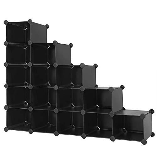 SONGMICS Estantería de Plástico, Organizador de 16 Cubos, 113 x 36 x 113 cm, Negro Estampado ULPC44H