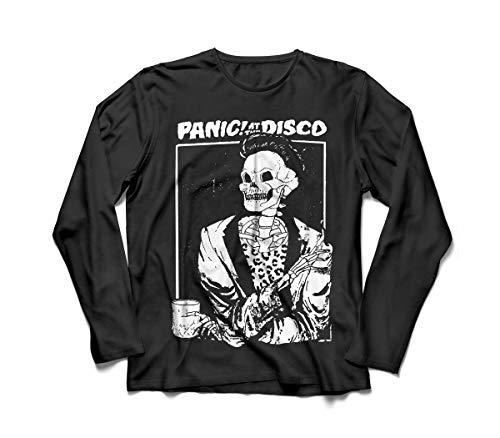 Camiseta/Camisa Manga Longa Feminina Panic! At The Disco Tamanho:GG;Cor:Preto