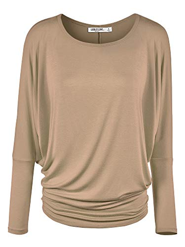 WT826 Womens Batwing Long Sleeve Top S Taupe