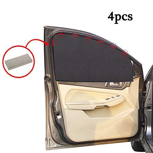 QHGao Sombrillas De Ventana Lateral Sombrilla De Coche para Succión Magnética 4 Piezas, Reductor De Deslumbramiento Solar Protector De Cortina De Ventana Protectora Conductor