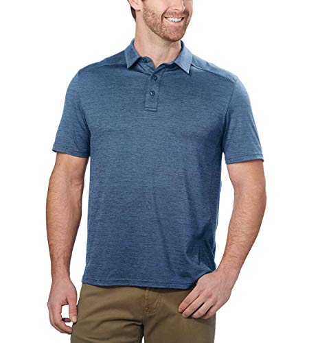G.H. Bass & Co. Men's Short Sleeve Cooling Stretch UPF 50 Polo (Navy Blazer Heather, Medium)