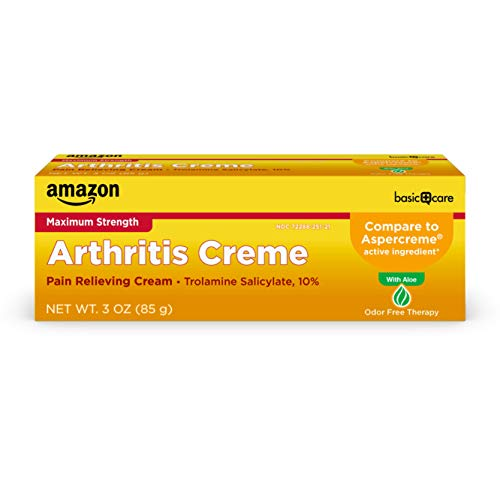 Amazon Basic Care Arthricream, Trolamine Salicylate 10%, Analgesic & Arthritis Pain Relief Cream, White, 3 Oz