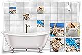 Medianlux Fliesen-Aufkleber SPA Wellness See-Stern Salz Muscheln Seife Blau Braun Bad WC Deko...