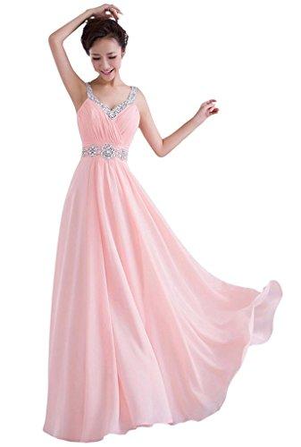 Edaier Damen Straps Korsett zurück Chiffon Lange Promkleid Formal Abendkleid Größe 44 Rosa