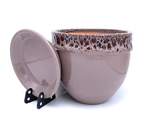 Sun Cakes Vaso per piante in ceramica smaltata, con piattino sottovaso, per piante grasse o orchidee, Ceramica, Cacao, 20cm x 17cm