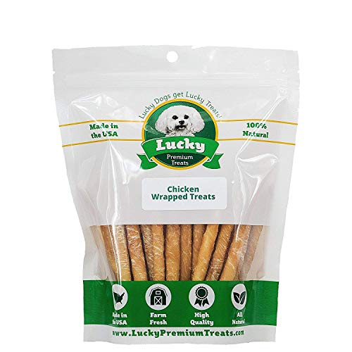 Healthy Chicken Wrapped Rawhide Dog Treats by Lucky Premium Treats, All Natural Gluten Free Dog Treats for Small Dogs, 250 Chews