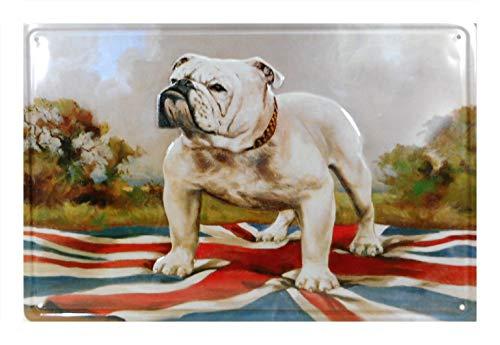 Cartel de chapa de bulldog inglés, 30 x 20 cm, decoración F12