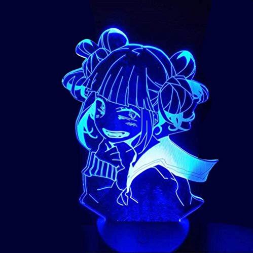 GEZHF Lámpara de noche 3D para niños Anime My Hero Academia Himiko Toga Boku No Hero Academia Cross My Body para dormitorio 7 colores Illusion Touch Decor Dormitorio