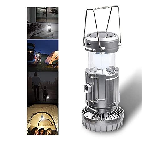 Linterna de camping LED portátil 6 en 1 para exteriores con ventilador, ventilador plegable, linterna solar recargable por USB, lámpara de gancho para colgar a prueba de agua para viajes, pesca, cober