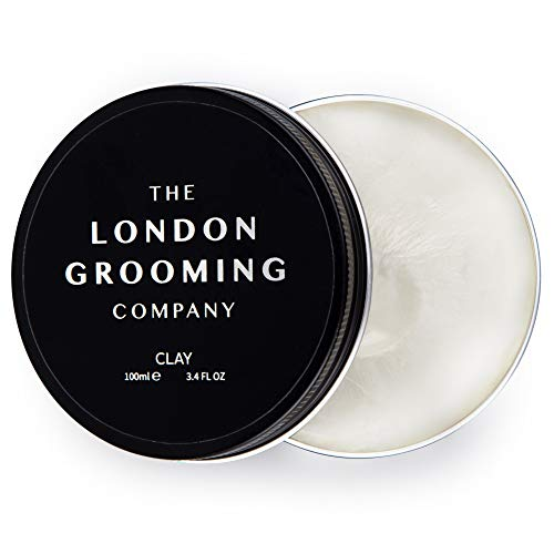 The London Grooming Company Clay for Men - Firm Hold and Dry Matte Finish - 3.4oz Water Based Men's Hair Product, Easy to Wash Out - Oud Wood Scent