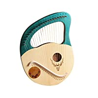 Lyre Harp 16文字列金属製の弦楽器のハープマホガニーLye Harpのチューニングレンチバッグギフト子供大人の初心者