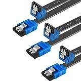 BENFEI Cable SATA III,3 Unidades, 6 Gbps, ángulo Recto de 90 Grados, con Cierre de Cierre, 45,72 cm, para Disco Duro SATA, SSD, Controlador de CD, Grabador de CD