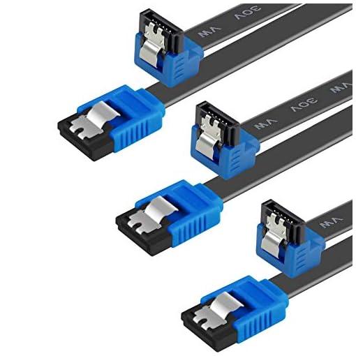 BENFEI Cable SATA III,3 Unidades, 6 Gbps, ángulo Recto de 90 Grados, con Cierre de Cierre, 45,72 cm, para Disco Duro… 1