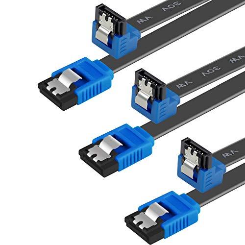BENFEI Cable SATA III,3 Unidades, 6 Gbps, ángulo Recto de 9