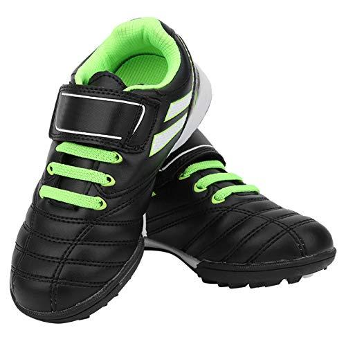 Huairdum 30 Yards Kinder Fußballschuhe, Fußballtrainingsschuhe, rutschfeste Fluoreszierende grüne Schwarze Bequeme und Starke für Sportschuhe für Jungen und Mädchen(Black)