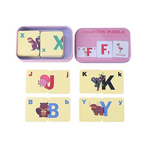 Set Carte Puzzle Apprendimento Flash Card Cognizione Jigsaw Shape Matching Gioco Giocattoli Educativi Precoci con Scatola Ferro per 0-6 Anni Ragazzi Ragazze Compleanno Natale Regalo (#3-Pink Box)