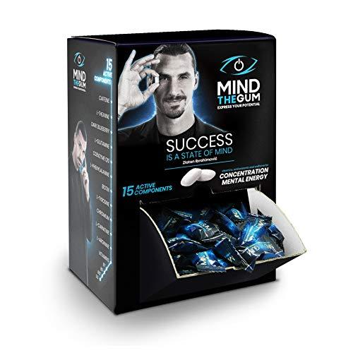 MIND THE GUM, Integratore con caffeina per Concentrazione ed Energia Mentale - Confezione da 50 giorni con 150 Chewing Gum - Gusto Menta