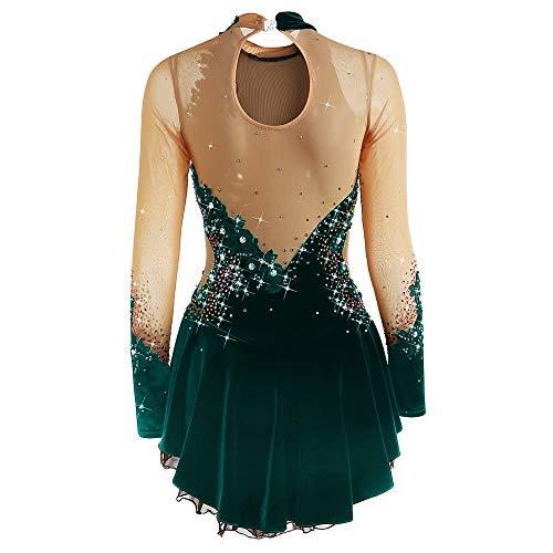 Jolie Eiskunstlauf-Kleid Damen Mädchen Elegant Eislaufen Kleid Dehnbar Wettkampf Eislaufbekleidung Handgemacht Eislaufrock,Deepgreen,M