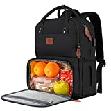 Lunch Backpack for Women, Insulated Cooler Backpacks with USB Port, 15.6 inch College School Laptop Bookbag Reusable Waterproof Tote Food Bag for Work Beach Camping Picnics Hiking