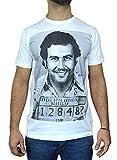 Pablo Escobar Faces - Camiseta de hombre con impresión serigrafiada manual al agua blanco L
