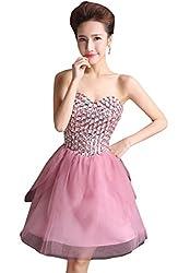 Pink Sweetheart Rhinestone Beaded Ball Gown Dress