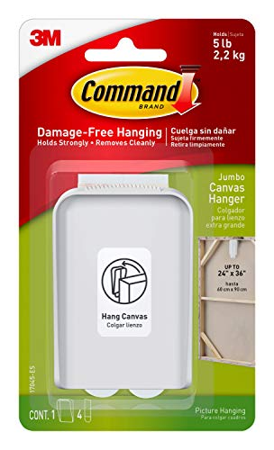 Command Jumbo Canvas Hanger, Holds 5 lbs, Indoor Use, Decorate Damage-Free, 1 hanger, 2 strips (17045-ES), White, 1 Hook