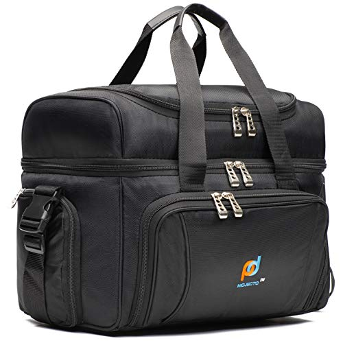 MOJECTO Large Cooler Bag. Two Insulated Compartment, Heavy Duty Fabric, Thick Insulation, 2 Heat Sealed Soft Peva Liner, Many Pockets, Strong Double Zipper, Padded Straps. for Men Women (Black)