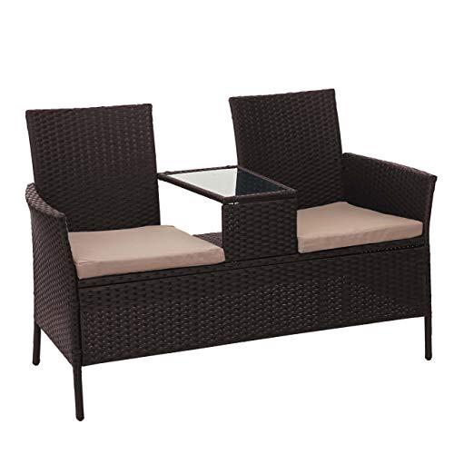 Mendler Poly-Rattan Sitzbank mit Tisch HWC-E24, Gartenbank Sitzgruppe Gartenmöbel, 132cm ~ braun, Kissen Creme