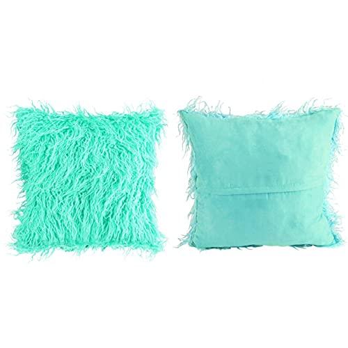 Zhjvihx Funda de Almohada Larga de Felpa, Funda de Almohada de sofá de Piel, Material de Felpa para decoración del hogar para el Dormitorio del Coche, Textiles para el hogar(Green)