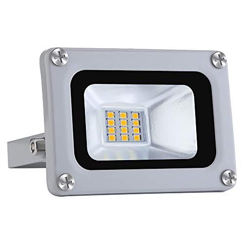 12V Focos LED Exterior Proyector 10W 800lm Floodlight Impermeable IP65 6500K Blanco Frío Reflector Foco para Jardín, Garaje, Campo Deportivo [Clase de eficiencia energética A+]
