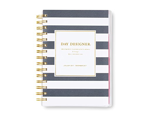 "Day Designer for Blue Sky ""Navy Stripe"" 5 x 8 Daily/Monthly Planner, Jan 2017 - Dec 2017"