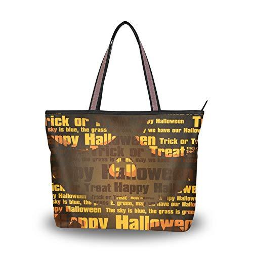 NaiiaN Geldbörse Shopping Handtaschen Leichter Riemen Umhängetaschen Halloween Party Kürbis Laterne Einkaufstasche für Frauen Mädchen Damen Student