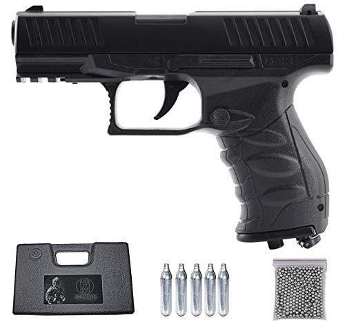 ECOMMUR FS 1506 | Pistola de balines (Bolas BB\'s de Acero) de Aire comprimido (CO2) semiautomática + maletín. Tipo Walther PPQ. [Potencia: 2 Julios]