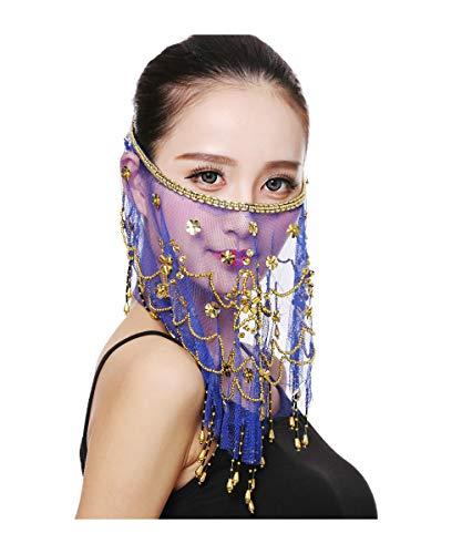 Grouptap danza del ventre mezza faccia velo costume con oro in rilievo trifoglio per le donne ragazze araba danza egiziana (blu) (Taglia unica)