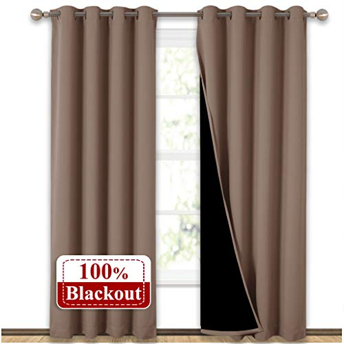 NICETOWN 100% Blackout Curtains Thermal, Noise Reduction and Privacy Curtains for Patio Door, Black Lined Blackout Drapes with Grommet Top, Taupe, 1 Pair, W52 x L84