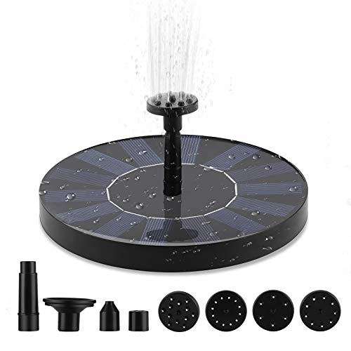 Upgraded Solar Bird Bath Fountain Pump with 6 Replaceable Nozzle, Free Standing Floating Solar Powered Water Fountain Pump for Bird Bath Garden Pond Pool Outdoor Fish Tank Aquarium Backyard