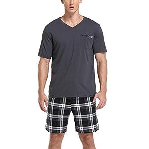 Vlazom Men's Pajama Sets Short Sleeve Top and Plaid Pants for Loungewear Sleepwear