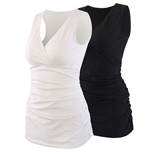 Manci Donna Premaman Top, Cotone V Neck maternità Top prémaman T-Shirt Gravidanza Allattamento Top (White+Black, Small)
