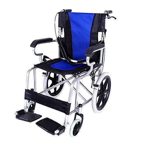 ZXCMNB Faltbarer Rollstuhl Aluminium Stahlrohrrahmen Racing for Unterwegs Mit Sicherheitsgurt Und Erweitertem Komfortsitz for Ältere Menschen Zur Verwendung Zu Hause (Color : Blue)