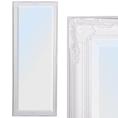 LEBENSwohnART Wandspiegel LEANDOS 140x50cm pur weiß barock Design Spiegel pompös Facette