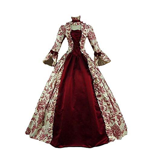 WanYangg - Vestido para mujer, estilo casual, retro, cuadrado, cuello medieval, vintage, manga larga, gtico, princesa, vestido irregular, verano, palacio, Royal Cosplay 3 # Rouge M