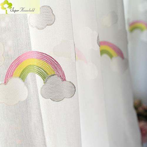 LEIXIN douchegordijn, wolken van de regenboog, geborduurd, tule voor kinderen, kindergordijnen, slaapkamer, keuken, woonkamer/afmetingen: 2,5 x 2,7 m/haak