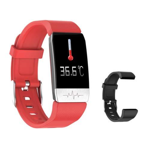 JKC Fitness Tracker, Männer Frauen Smartwatch Band mit Temperaturmessung Herzfrequenz Blutdruckmessgerät Wettervorhersage Trinkerinnerung Armband für Android und IOS